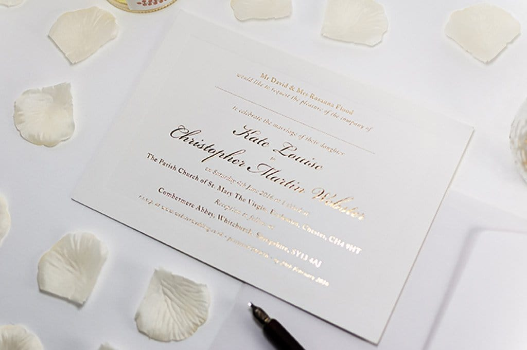 Embossed Card For Wedding Invitations: Embossed Wedding Invitation, Classic With Raised Border