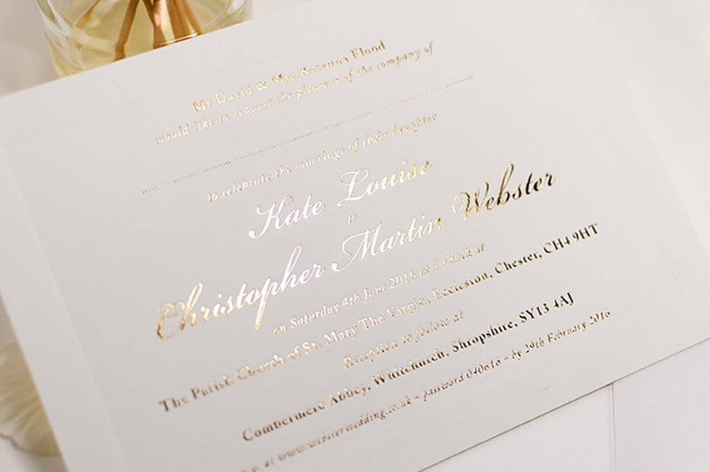 Gold Foil Stamped Wedding Invitations: Embossed Wedding Invitation, Classic With Raised Border