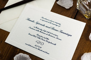 Letterpress Wedding Invitation, Classic, Embossed Sample