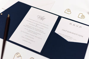 Classic Monogram Wedding Invitation in Platinum Grey Pocketfold