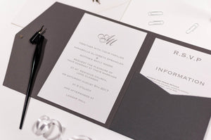 luxuryweddinginvitationsbycombossa Pocketfold Wedding Invitation Classic Monogram Wedding Invitation in Platinum Grey Pocketfold