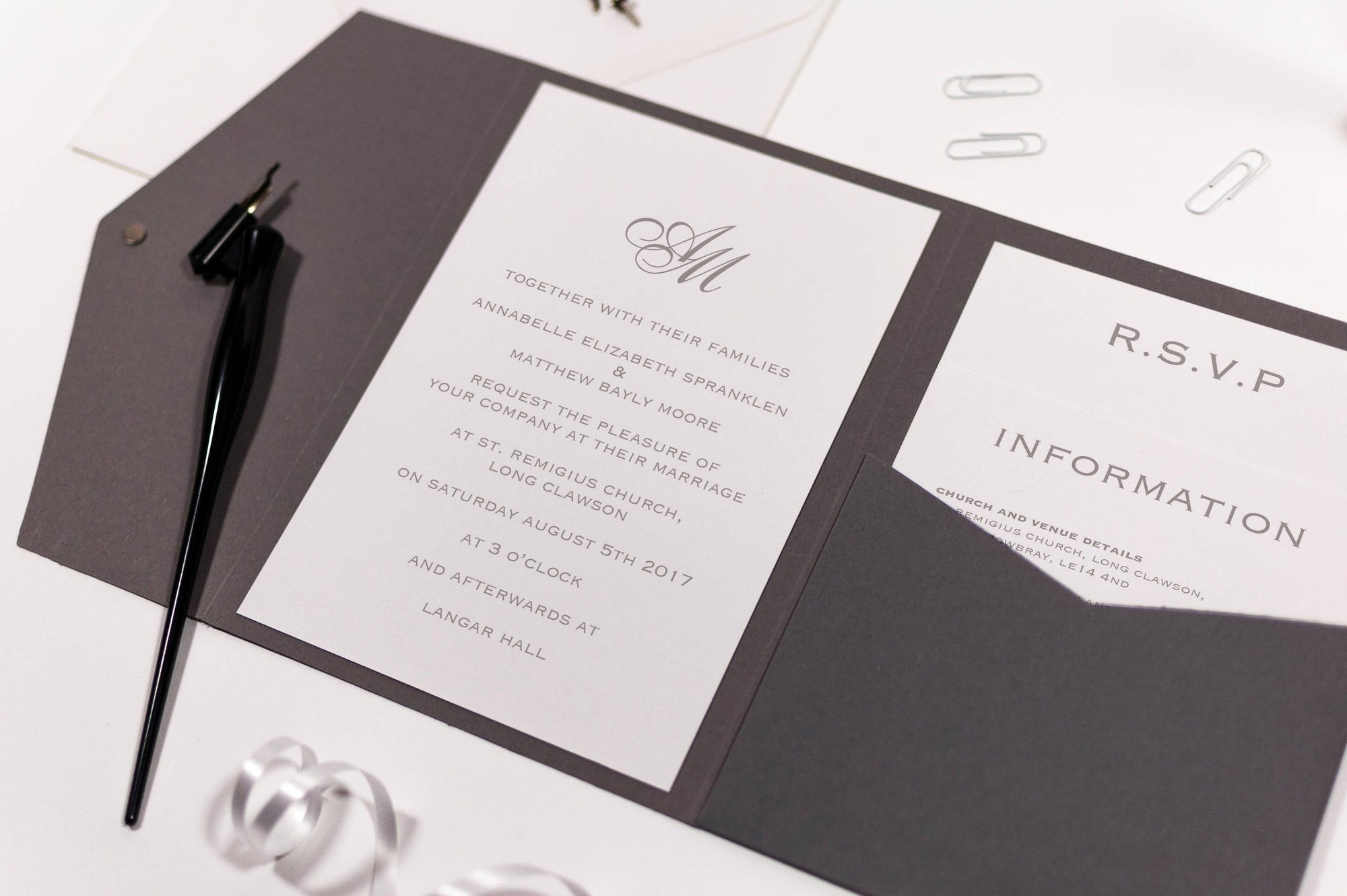 luxuryweddinginvitationsbycombossa Pocketfold Wedding Invitation Sample Invitation Classic Monogram Wedding Invitation in Platinum Grey Pocketfold, Sample