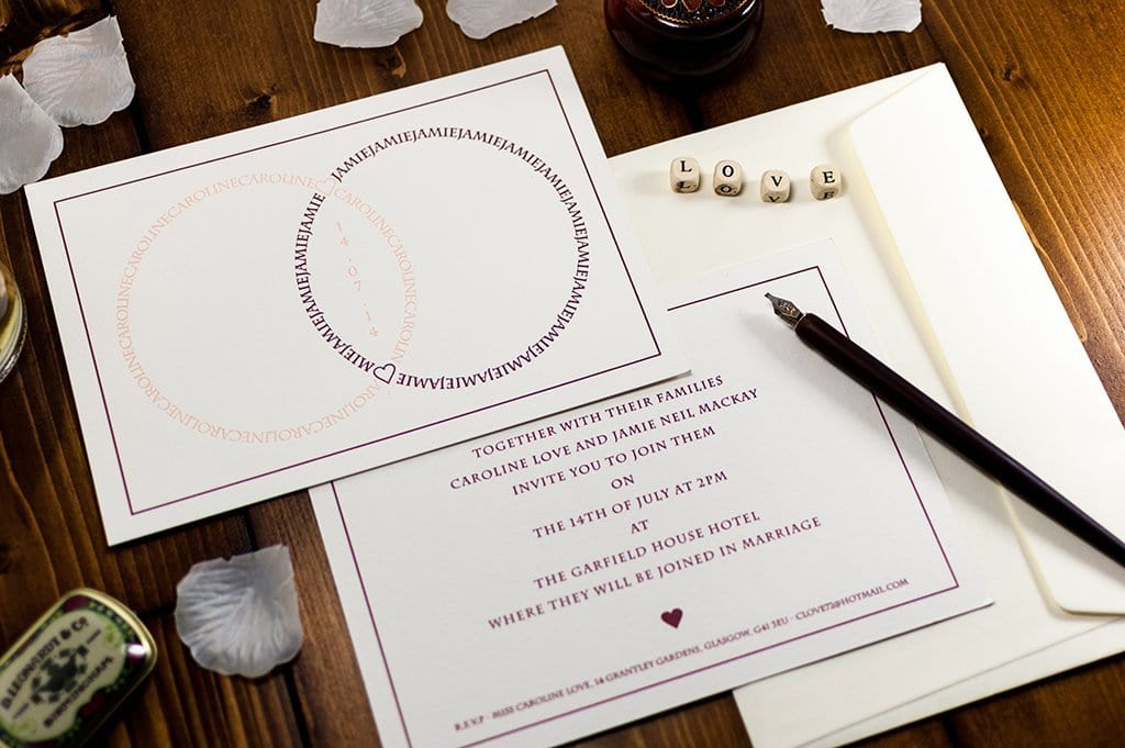 Letterpress Wedding Invitation, Combined Rings Sample
