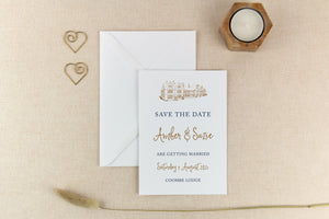 Coombe Lodge, Calligraphy Wedding Save the Date Card
