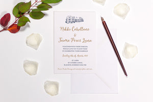 Coombe Lodge, Somerset Wedding Invitation, HD Digital Print