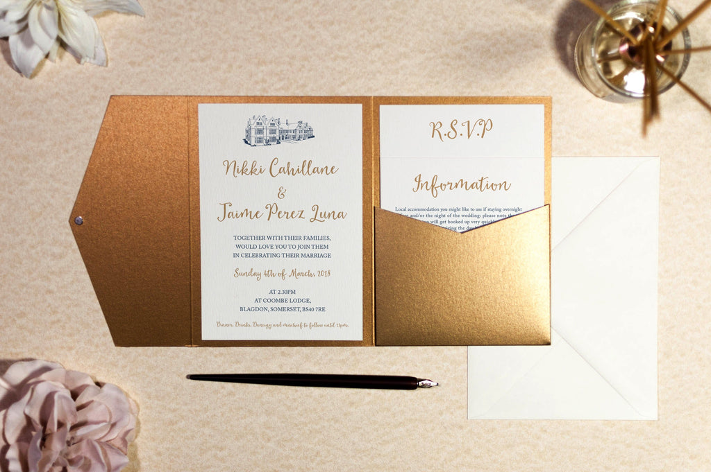 Coombe Lodge Wedding Invitation in Antique Gold Pocketfold Wallet