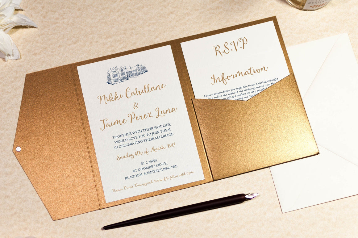 luxuryweddinginvitationsbycombossa Pocketfold Wedding Invitation Coombe Lodge Wedding Invitation in Antique Gold Pocketfold Wallet