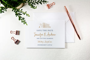 Crossbasket Castle, Calligraphy Wedding Save the Date Card