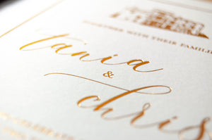 Foil Embossed Wedding Invitation, Crossbasket Castle with Modern Calligraphy