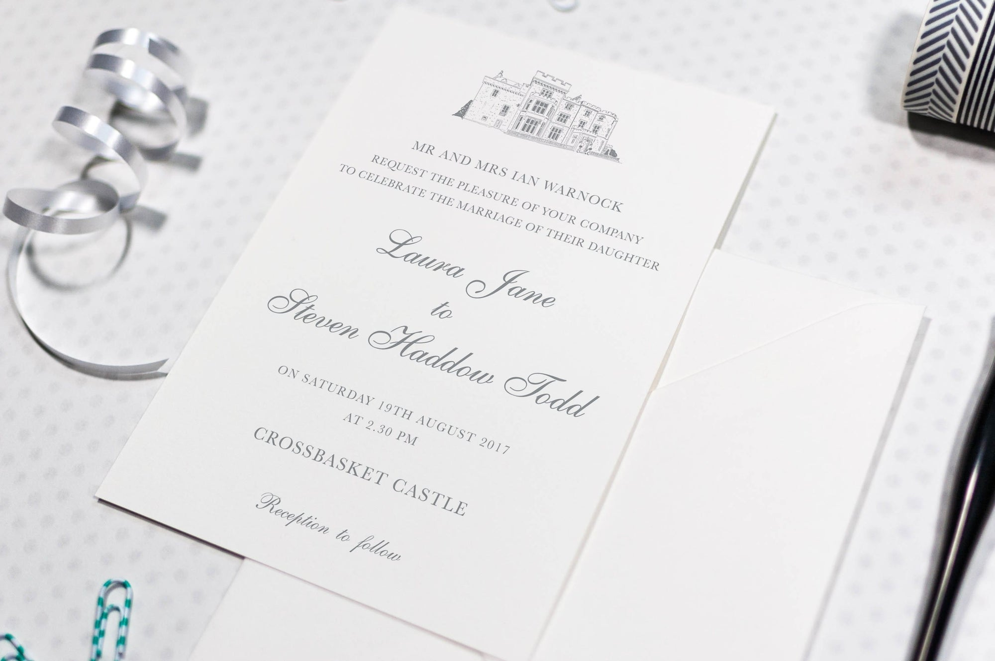 luxuryweddinginvitationsbycombossa HD Printed Wedding Invitations Sample Invitation £1.60 (Colour as shown) / As Shown Crossbasket Castle Wedding Invitation, Sample