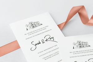 luxuryweddinginvitationsbycombossa HD Printed Wedding Invitations Crossbasket Castle Wedding Invitation, Modern & Minimalist