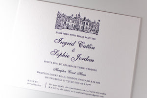 luxuryweddinginvitationsbycombossa Letterpress Wedding Invitations Letterpress Wedding Invitation, Hampton Court House