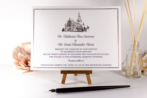 Embossed Wedding Invitation, Glasgow Cathedral