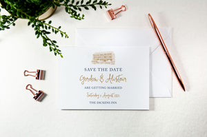 The Dickens Inn, Calligraphy Wedding Save the Date Card