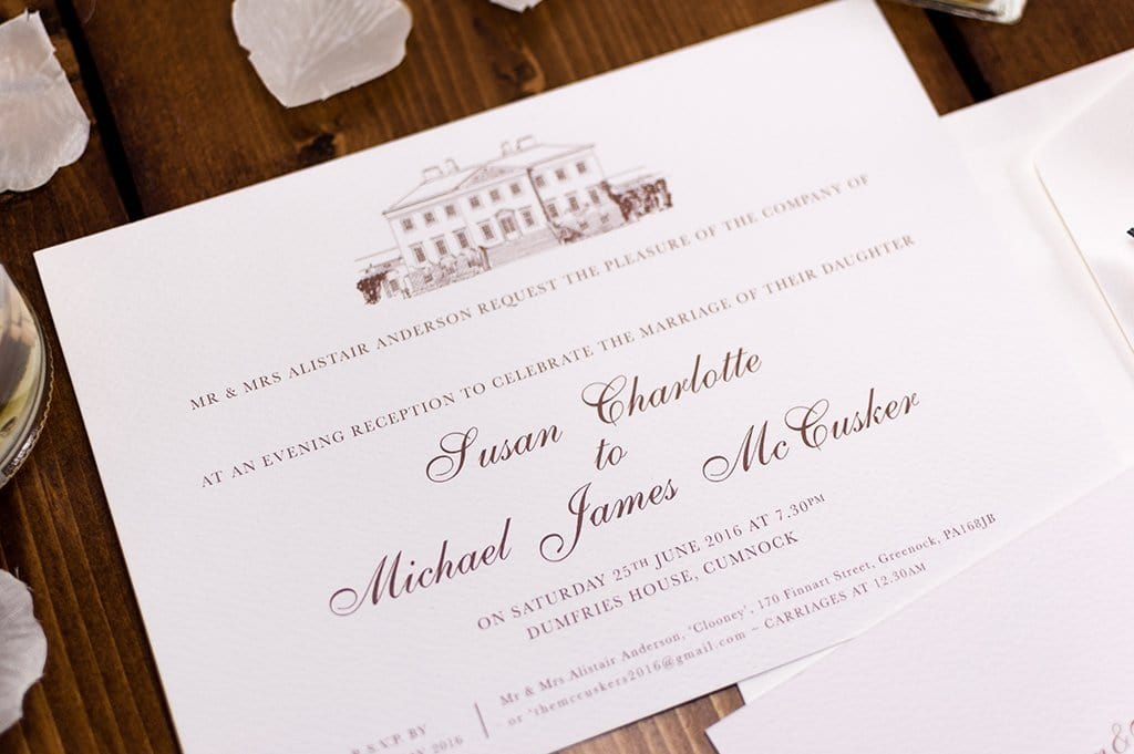 Dumfries House Wedding Invitation, HD Digital Print Sample