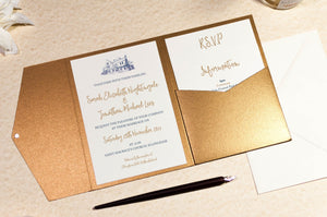 luxuryweddinginvitationsbycombossa Pocketfold Wedding Invitation Ellingham Hall Wedding Invitation in Antique Gold Pocketfold Wallet