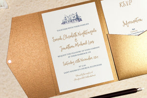 Ellingham Hall Wedding Invitation in Antique Gold Pocketfold Wallet