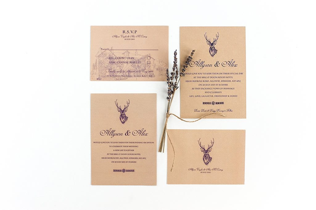 Embossed Wedding Invitation, Stag