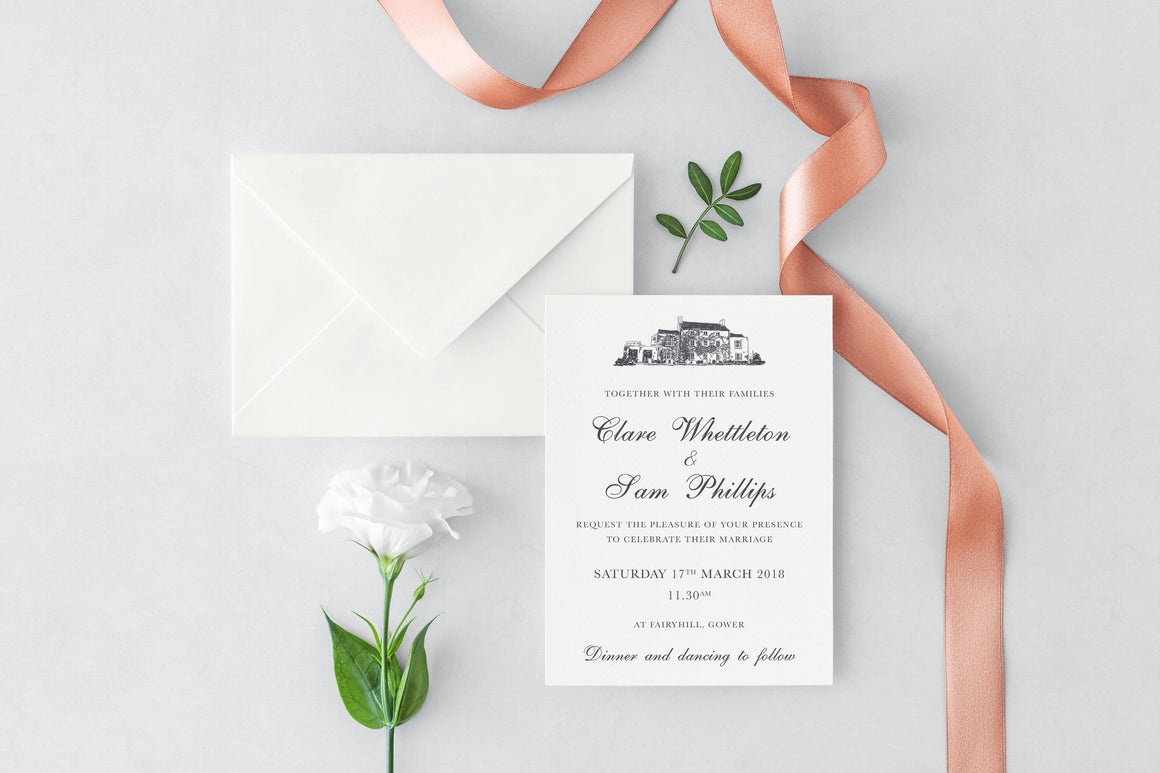luxuryweddinginvitationsbycombossa HD Printed Wedding Invitations Fairyhill Gower Wedding Invitation, HD Digital Print