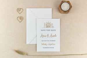 Gilmerton House, Calligraphy Wedding Save the Date Card