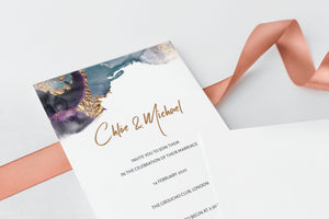 luxuryweddinginvitationsbycombossa HD Printed Wedding Invitations Watercolour and Gold Wedding Invitation, HD Digital Print