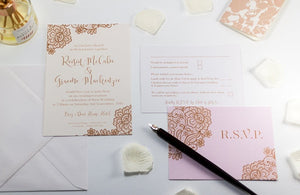 Floral Calligraphy Wedding Invitation, HD Digital Print