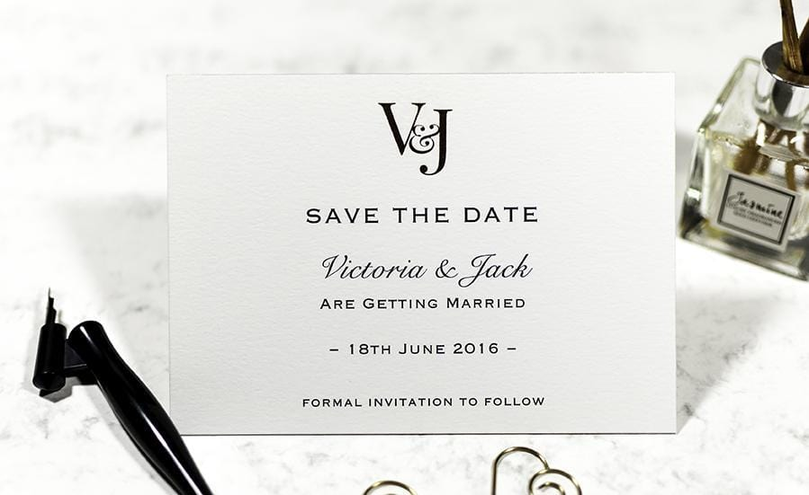 Embossed Save the Date, Monogram Initials Sample