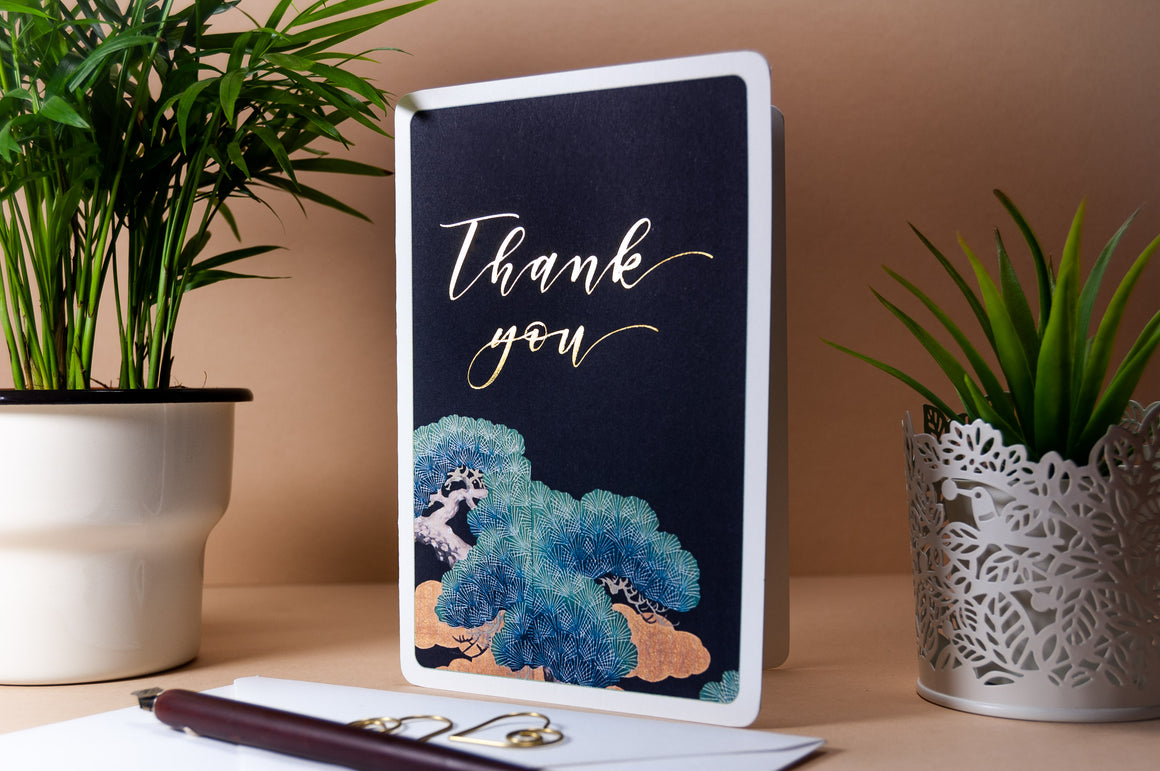 Gold Foil Thank You cards, Multipack, Japanese Tree.