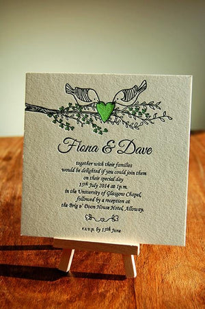 Letterpress Wedding Invitation, Rustic, Two Little Birds - Luxury Wedding Invitations