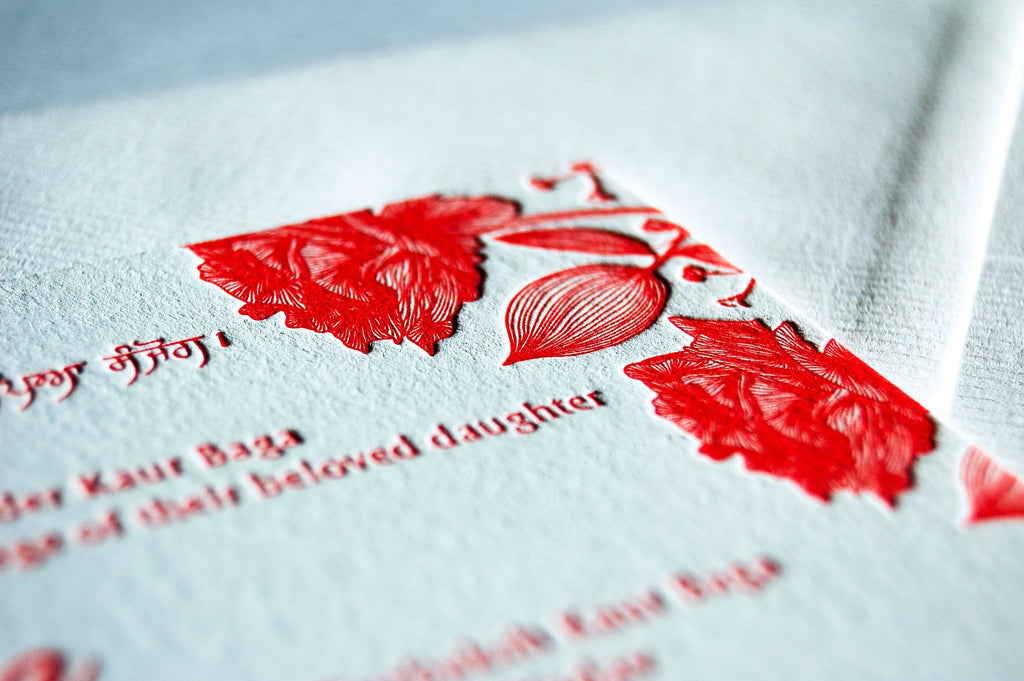 Letterpress Wedding Invitation, Floral Gypsophila
