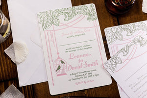 luxuryweddinginvitationsbycombossa Letterpress Wedding Invitations Letterpress Wedding Invitation, Bird Cage