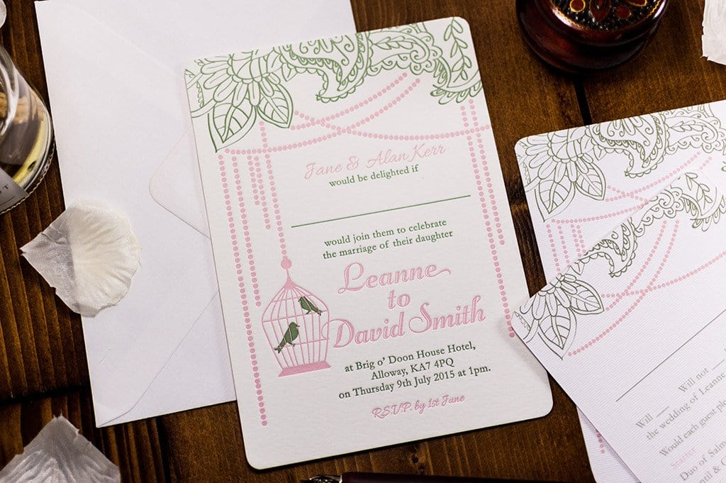 Letterpress Wedding Invitation, Bird Cage - Luxury Wedding Invitations