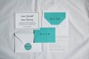 Letterpress Wedding Invitation, Classic, Tiffany Blue