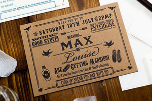 Letterpress Wedding Invitation, Rustic Kraft Card