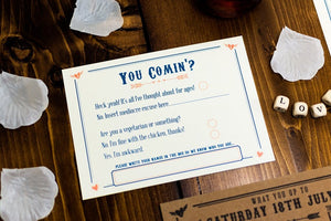Letterpress Wedding Invitation, Rustic Kraft Card RSVP