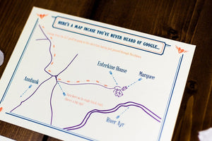 Letterpress Wedding Invitation, Rustic Kraft Card Map