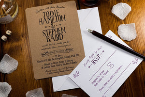 Letterpress Wedding Invitation, Rustic Banner
