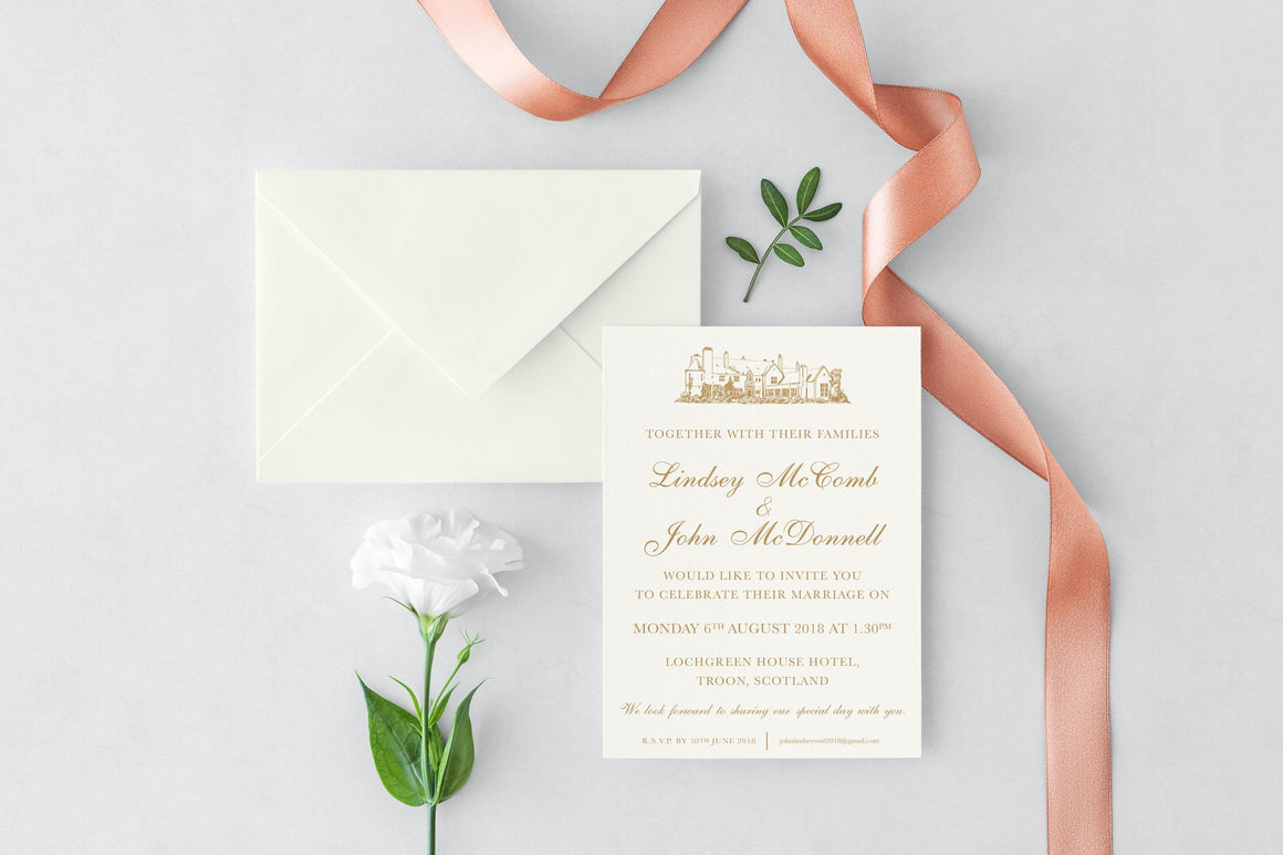Lochgreen House Hotel Wedding Invitation, HD Digital Print