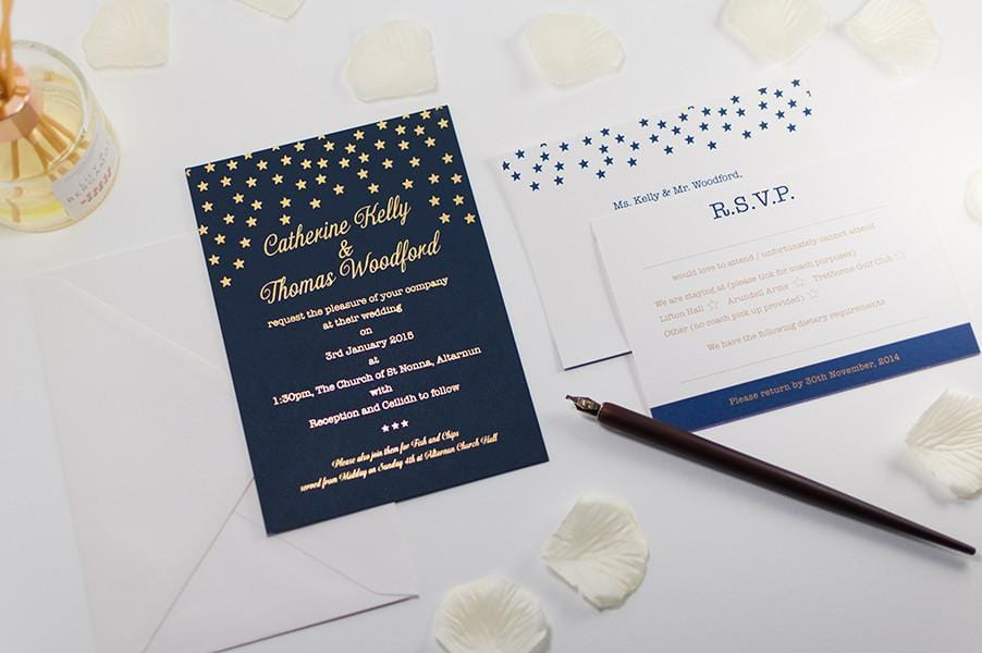 Embossed Wedding Invitation, Starry Night - Luxury Wedding Invitations