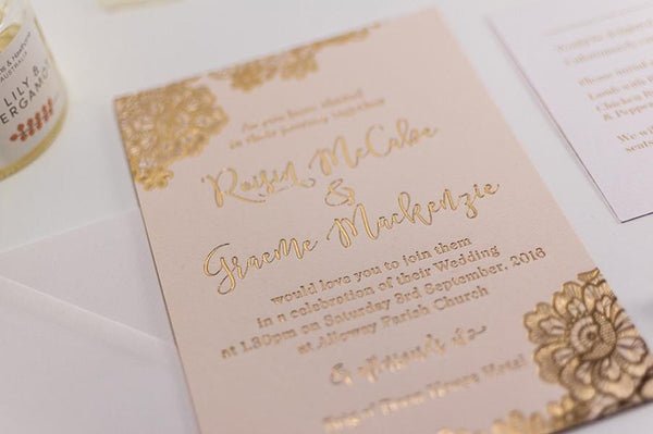 Gold Foil Stamped Wedding Invitations: Embossed Wedding Invitation, Floral