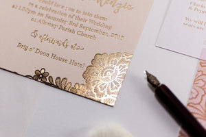 Embossed Wedding Invitation, Floral - Luxury Wedding Invitations