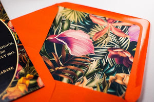 Embossed Wedding Invitation, Tropical Heat NEW