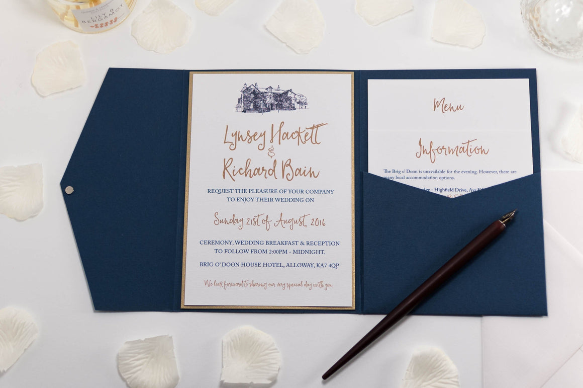 Brig o' Doon Wedding Invitation in Navy Blue Pocketfold - Luxury Wedding Invitations