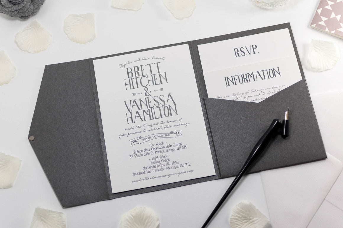 Vintage Banner Wedding Invitation in Platinum Grey Pocketfold - Luxury Wedding Invitations