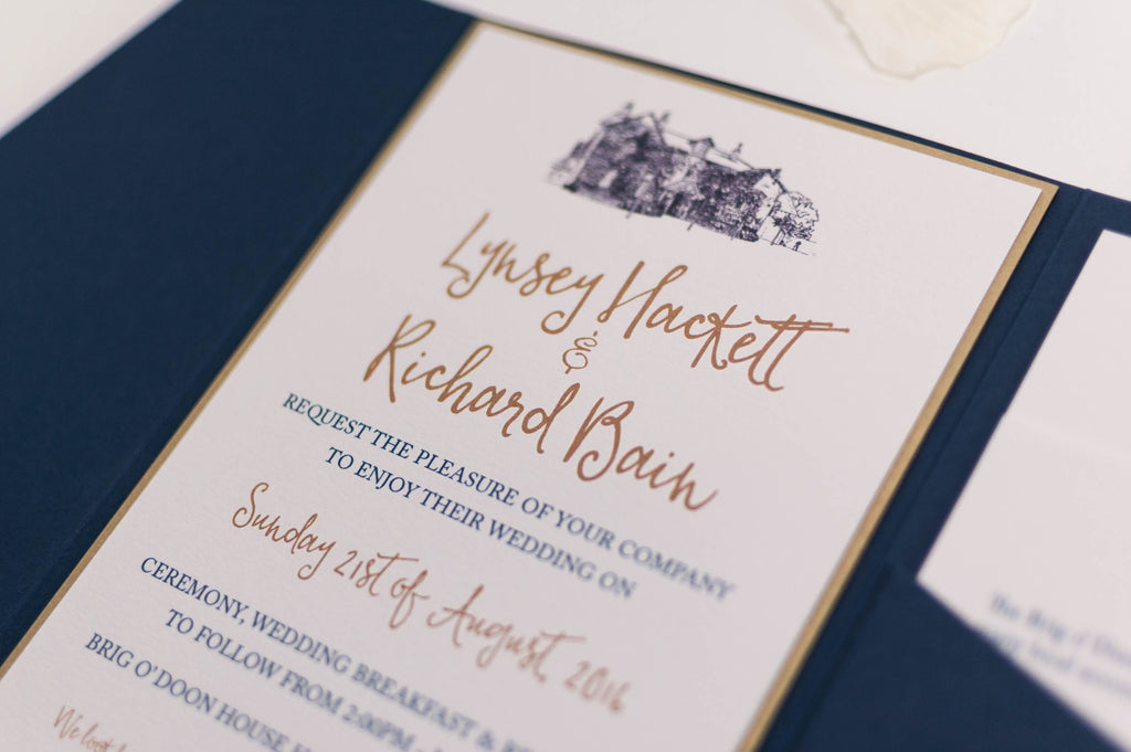 Brig o' Doon Wedding Invitation in Navy Blue Pocketfold