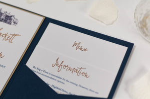 luxuryweddinginvitationsbycombossa Pocketfold Wedding Invitation Brig o' Doon Wedding Invitation in Navy Blue Pocketfold