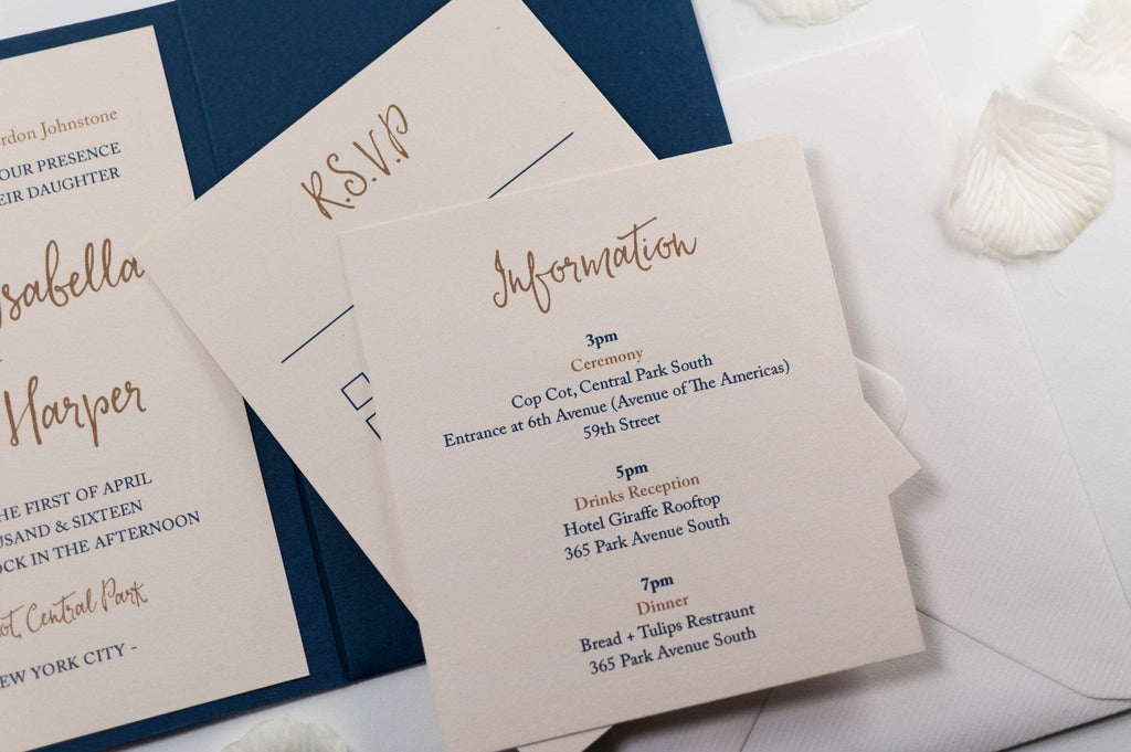 Calligraphy Wedding Invitation in Navy Blue Pocketfold - Luxury Wedding Invitations