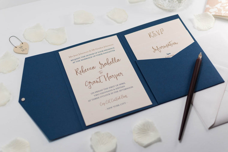 Calligraphy Wedding Invitation in Navy Blue Pocketfold