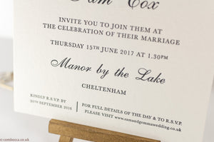 Letterpress Wedding Invitation, Manor by the Lake Sample