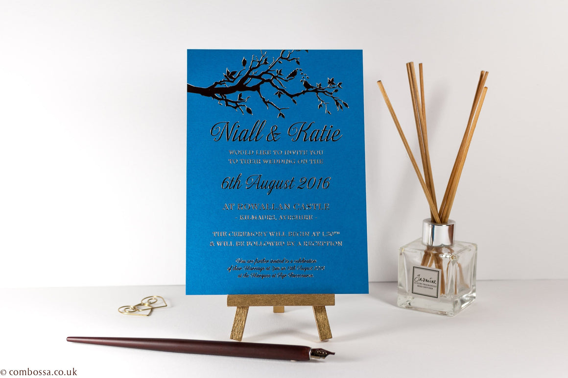 Embossed Wedding Invitation, Two Little Love Birds